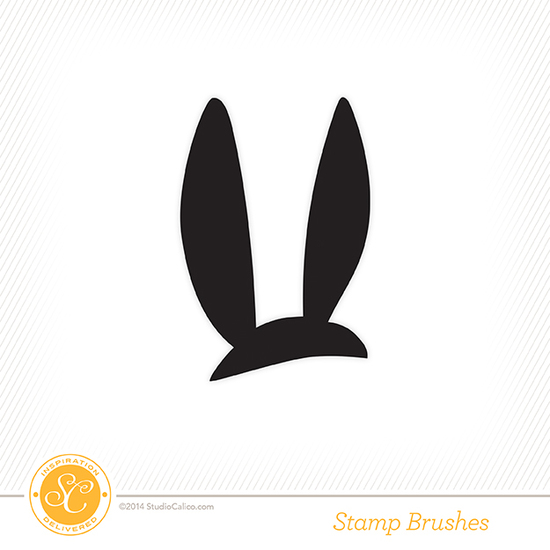 Bluegrass Farm Bunny Ear Digital Stamp + Background Cut