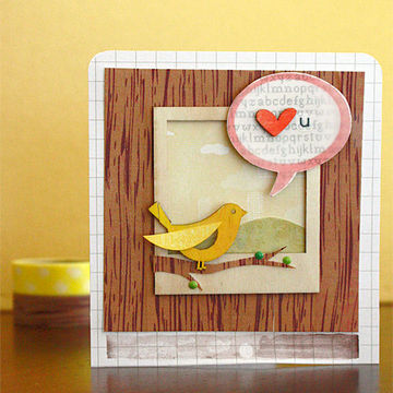 Love you bird woodgrain card