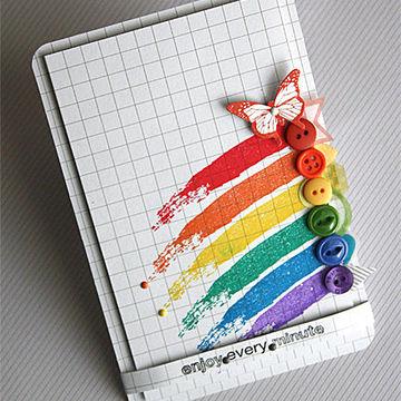 Rainbow button card