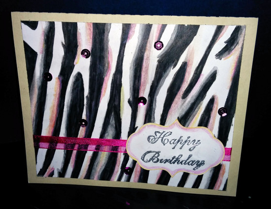 Zebra watercolor bday card