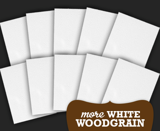 More white woodgrain card kit