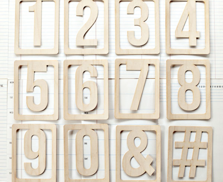 Wood Veneer Numbers Set