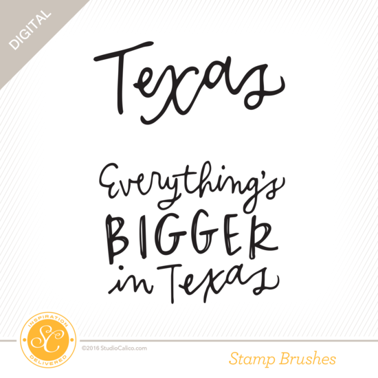 USA State Sentiments Texas Digital Stamp Brushes