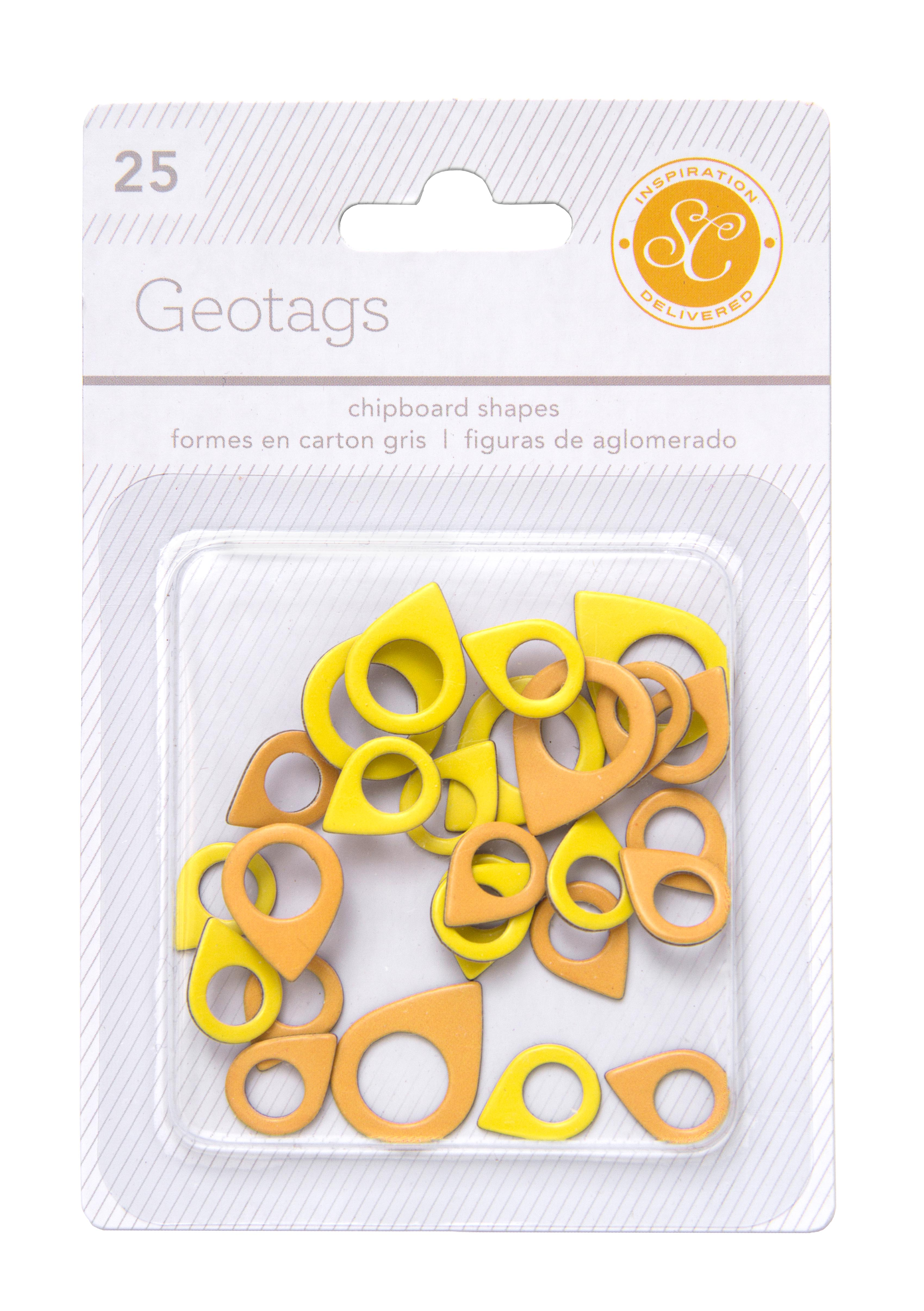 Essentials Chipboard Geotags - Yellow & Orange