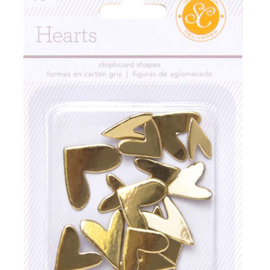 Essentials Chipboard Hearts - Gold