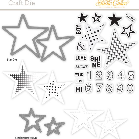 Craft Die & Stamp Set: Stars