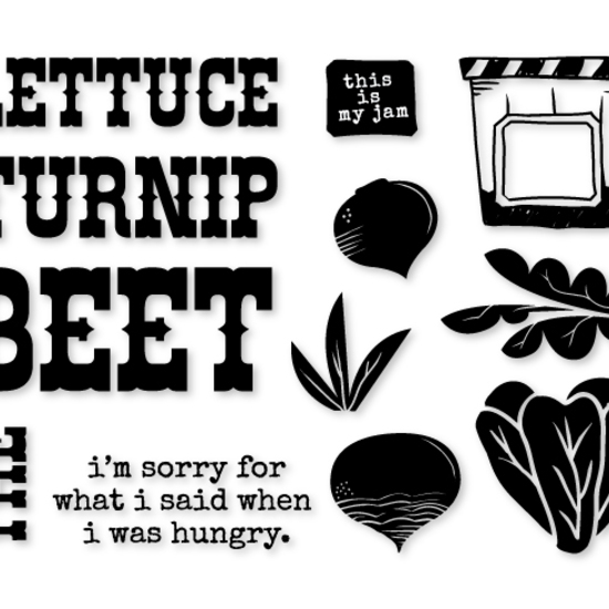 "South of Market ""Turnip the Beet"" stamp set"