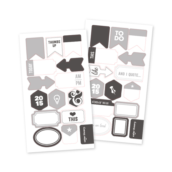 Color Theory Vellum Tab Stickers Gray Area + Inky Black