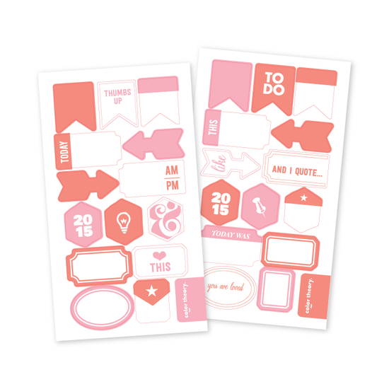 Color Theory Vellum Tab Stickers: Blush Crush + Poppy