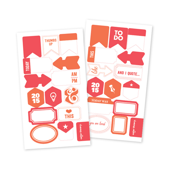 Color Theory Vellum Tab Stickers: Well Red + Orange County