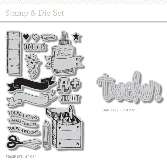 Craft Die + Stamp Set: Teachers Pet