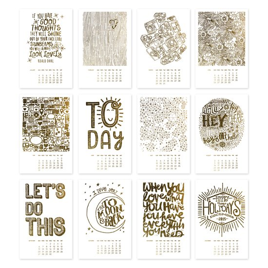 Golden Year 2015 Letterpress Calendar