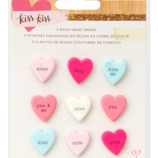 Kiss Kiss Resin Candy Hearts by Crate Paper