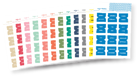 Picture 1 of Color Theory Tab Stickers : Set of 12 Monthly Stickers