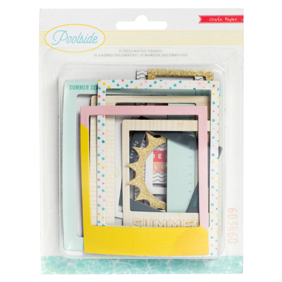 Embellishments - CP - Poolside - Frames - Gold Glitter Accents