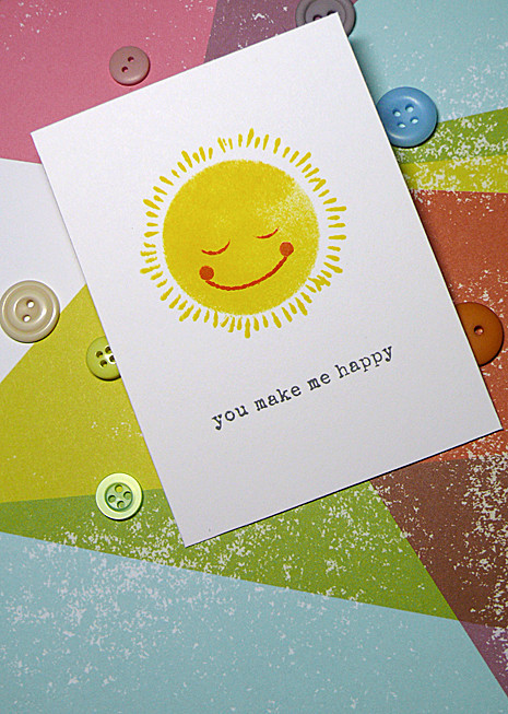 Sun stamped plcard
