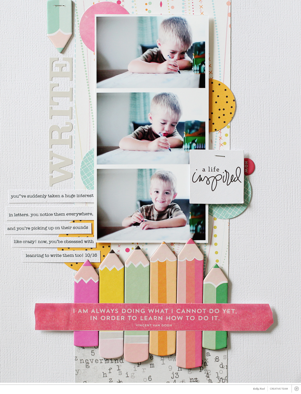 How to scrapbook a holiday - I M A Family Literal Scrapper So I Searched Through My Photos For The Last Year For Something That Would Work With The Pencil Theme