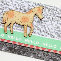 Card main hello horse closeup ls