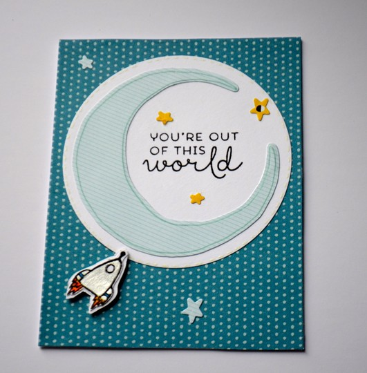 Out of this world dots and stripes card original