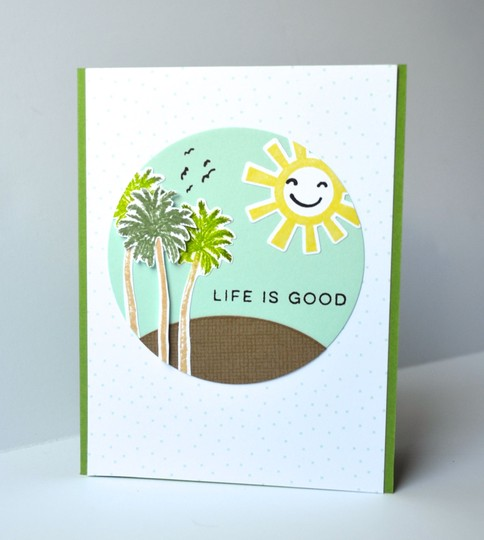 Life is good palm tree card original