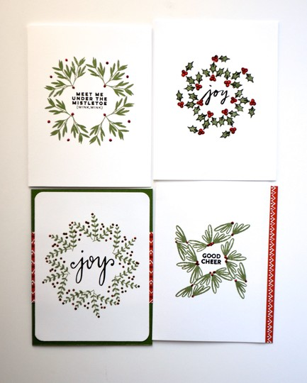 Christmas foliage patterned cards original