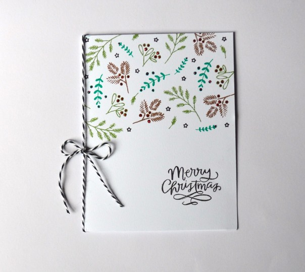 Foliage stamped merry christmas card original