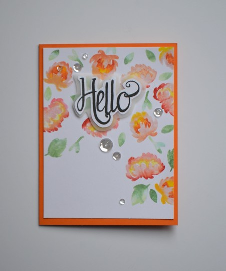 Hello spritzed floral card original